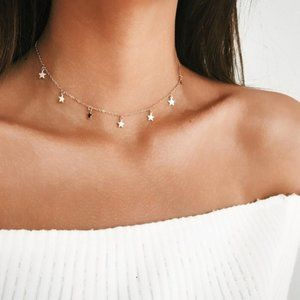 5 for $25 Gold Color Star Charm Dainty Necklace
